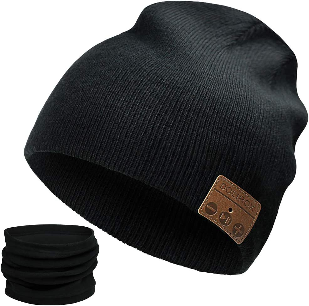 Black Bluetooth Beanie,Upgraded Bluetooth V5.0 Unisex Knit Wireless Cap Bluetooth Hat with Built-in HD Stereo Speakers /& Microphone Unique Stocking Stuffers for Men Women Boys and Girls