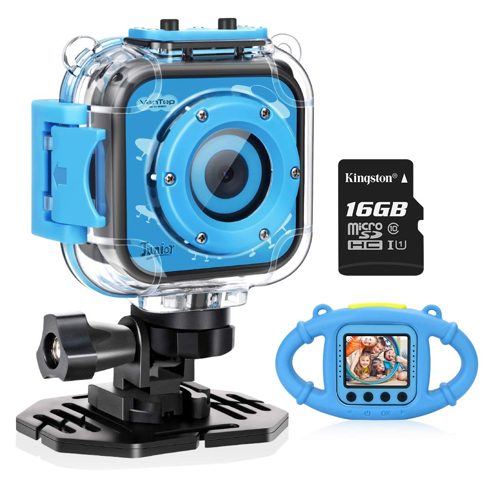 VanTop Junior K3 Kids Camera, 1080P Supported 5MP Waterproof Digital Video Action Camera, Kid-Proof Silicon Case/ Waterproof Case/ 16G Micro SD Card Included (Blue)