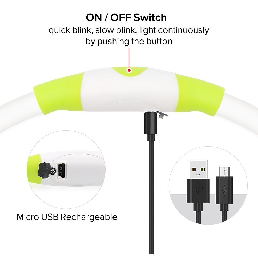 Illumifun Led Dog Collar, USB Rechargeable TPU Cuttable Light Up Collar Make Your Dogs Seen & Safe in the Dark (Neon Green)