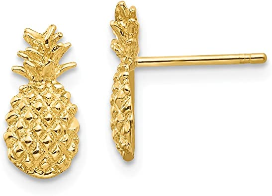 Mia Diamonds 14k Yellow Gold Polished and Textured Pineapple Post Earrings