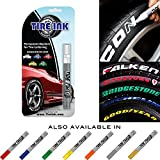 Automotive : Tire Ink   Paint Pen For Car Tires   Permanent and Waterproof   Carwash Safe   8 Colors Available (2 Pens, Red)