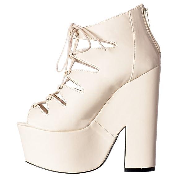 13fbfa1bcf85 Shoekandi Womens Ladies Gladiator Cut Out Strappy Lace Up Demi Wedge Chunky  Heels - White PU White PU UK8 - EU41 - US10 - AU9  Amazon.co.uk  Shoes    Bags