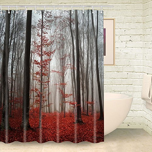 ALDECOR Fabric Shower Curtain Farmhouse Country Home Decor, Mystic Forest Trees and Leaves Red Grass Modern Art Flower Rainy Foggy Gray Scene Print, 60x72 Inches, Black and Gray