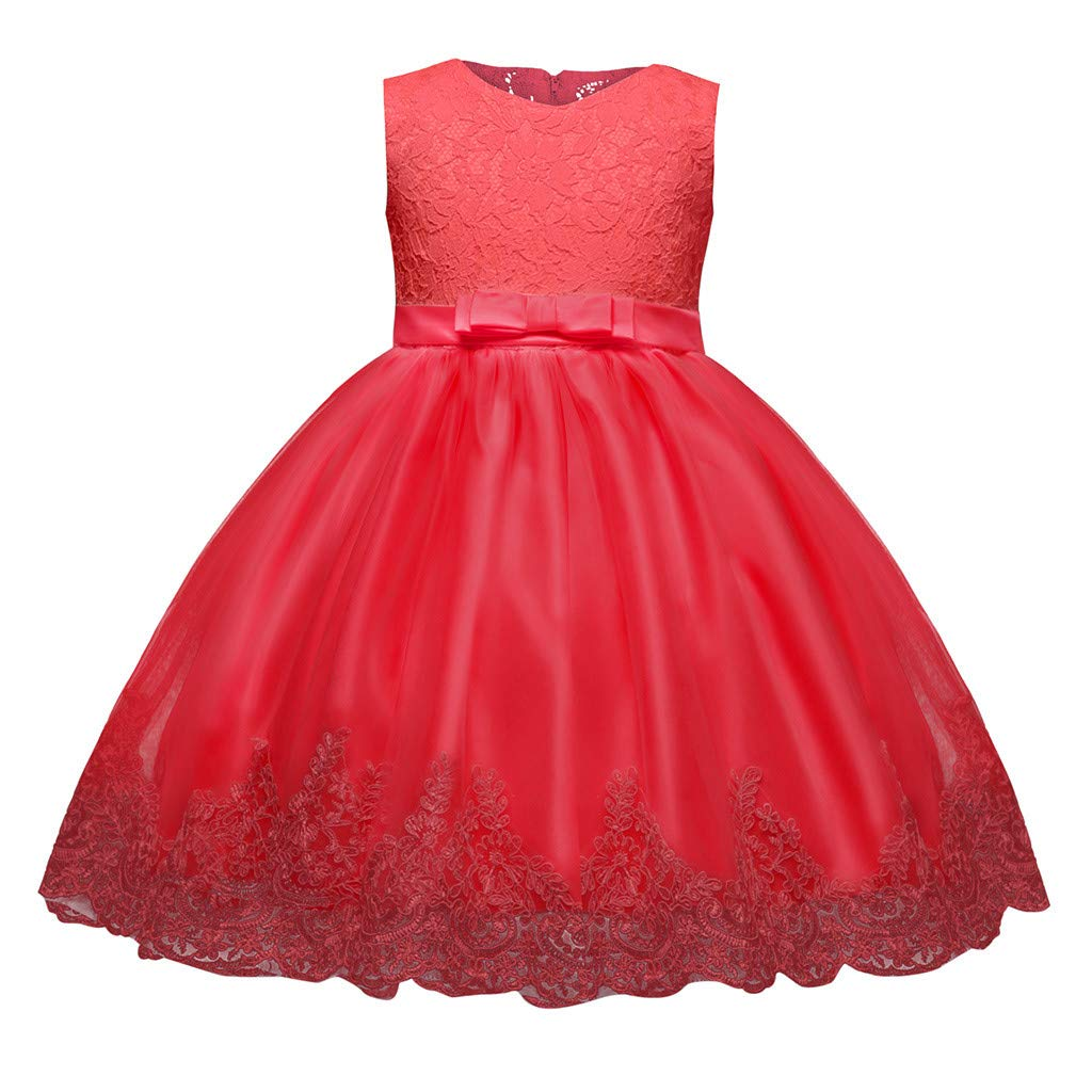 1-5Years Baby Girls Kids Lace Bowknot Princess Wedding Performance Formal Party Prom Dresses (80, Red) by BCDshop_Girl Summer Clothes Clearance
