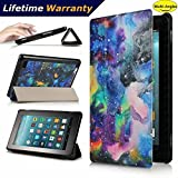 DHZ Folio Case for Amazon Fire HD 8 Tablet(2017 and 2016 Release,7th/ 6th Generation) - Ultra Lightweight Smart Cover Slim Tri-fold Stand Leather Case with Auto Wake / Sleep,Colorful Starry Sky