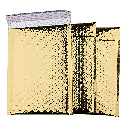 FU GLOBAL Metallic Bubble Mailers Padded Envelopes 7.5x11 inch Bubble Envelopes DVD Mailer (Gold)