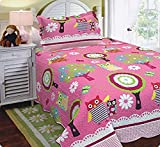 MB Collection Twin Size 2 Pcs Pink, Owl, White flower Bedspread Quilts Set Teens / girls Owl Pink New # Twin Size Quilt Set