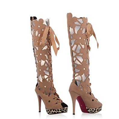 Women's High-Heels Solid Round Closed Toe Frosted Lace-Up Boots Beige 4.5 B(M) US