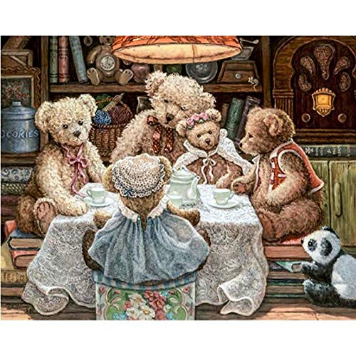 (5D DIY Diamond Painting - Teddy Bear Family Love Resin Cross Stitch Kit - Crystals Embroidery - Home Decor Craft 31x24 inch / 80x60 cm)