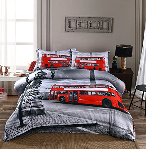 Beddinginn 4 Pieces 3d 100% Cotton Bedding Sets Collection Big Ben and London Bridge Retro Vintage Print Design Duvet Cover Sets(King,Grey and Red)