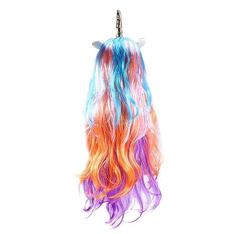 Peluca Frcolor Rainbow de pelo largo rizado con unicornio para disfraz de cuerno de unicornio para