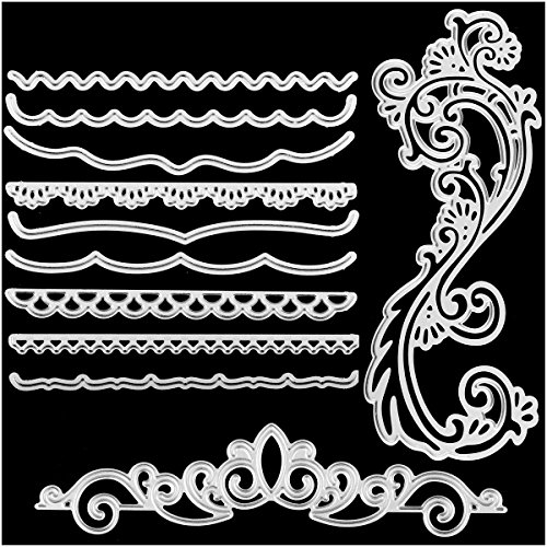 Metal Cutting Dies Cut Stencils for DIY Scrapbooking Photo Album Decorative Embossing DIY Paper Cards Lace Flower Crown Edges Mould Template(Dies 20)