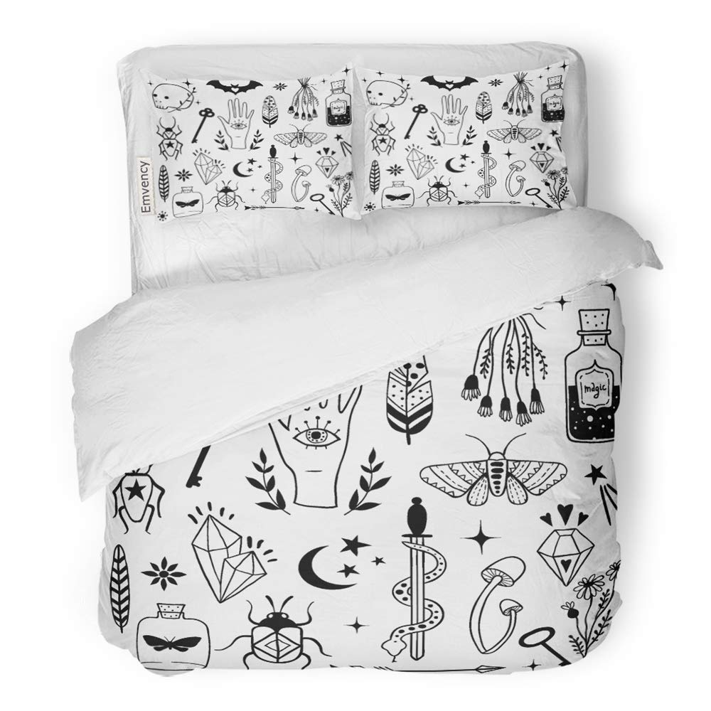 Emvency 3 Piece Duvet Cover Set Brushed Microfiber Fabric Breathable Witch Magic Doodle Sketch Magician Collection Witchcraft Symbols Potion Skull Bedding Set with 2 Pillow Covers Full/Queen Size