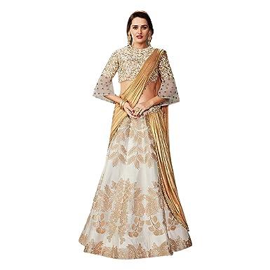 1d0ea16d5d3 Amazon.com  Bell Sleeves Indian Silk Party Silk Lehenga Ethnic Zari  Handowork Choli Ghagra Lycra Attached Dupatta 7438 (Beige)  Clothing