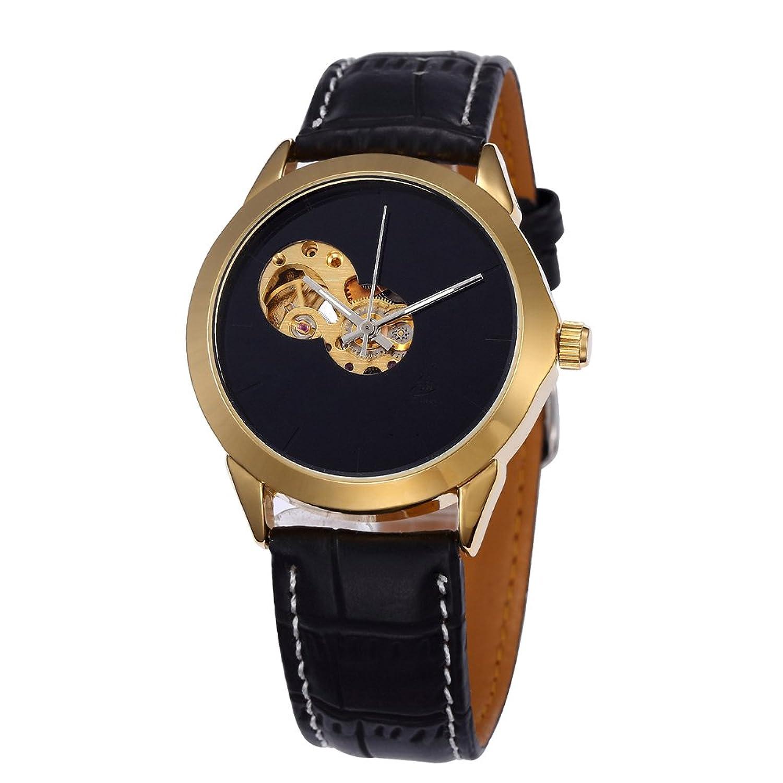 SHENHUA Men 'sカレンダー自動機械腕時計(ガラスコーティングブラック/ホワイト) B06Y2P99FB