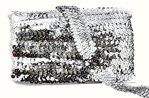 Mandala Crafts Elastic Sequin, Flat Glitter Stretch Bling Paillette Fabric Ribbon, Metallic Appliqué Trim Lace for Dress Embellish, Headband (1 Inch, Silver)
