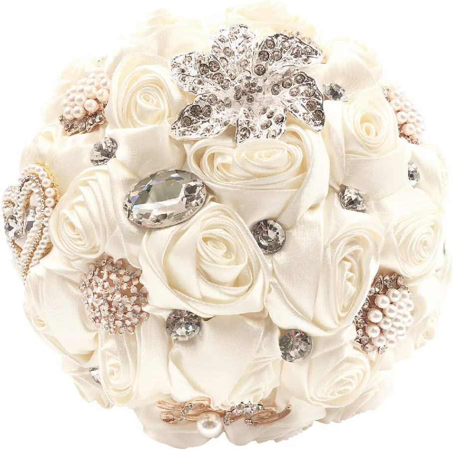 Abbie Home Handmade Bridal/Brooch/Bridesmaids Bouquet Satin Roses with Crystal Diamond Pearl Decor (Ivory)