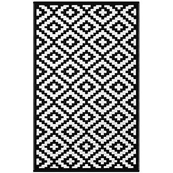 Green Decore Lightweight Outdoor Reversible Plastic Rug Nirvana, Black/White