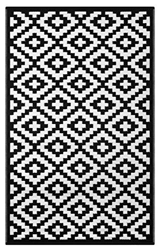 Rug Rain Black (Green Decore Lightweight Outdoor Reversible Plastic Nirvana Rug (3 X 5, Black/White))