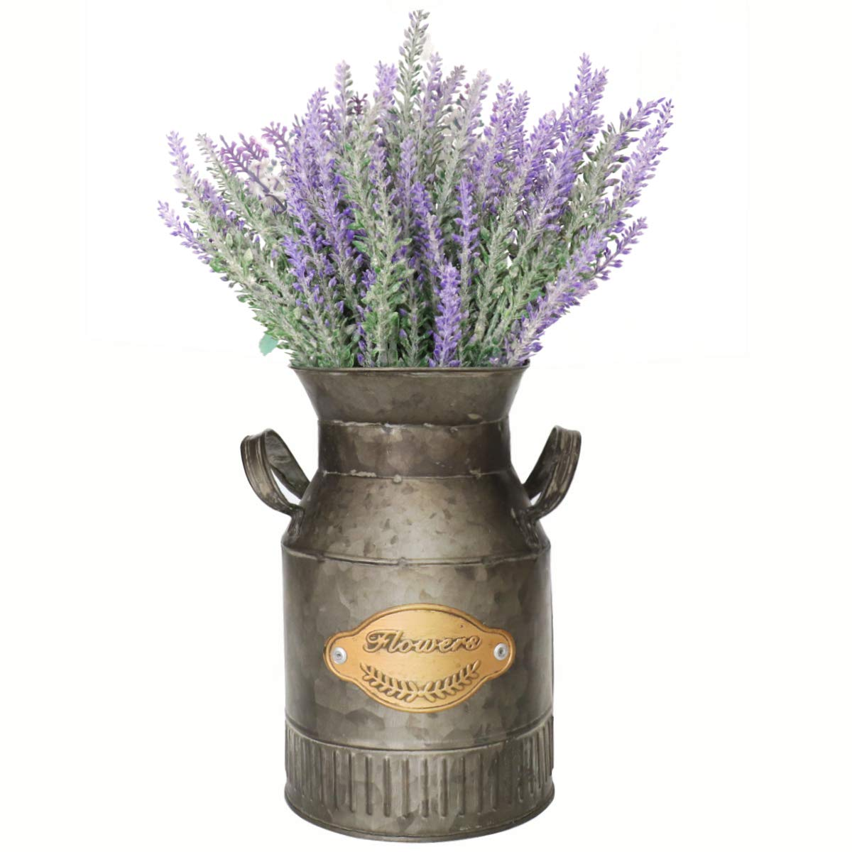 VANCORE Shabby Chic Metal Jug Galvanized Pitcher Milk Jug Vase Farmhouse Decor for The Home