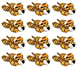 Wildlife Tree 3.5 Inch Tiger Mini Small Stuffed Animals Bulk Bundle of Zoo Animal Toys or Jungle Safari Party Favors for Kids Pack of 12