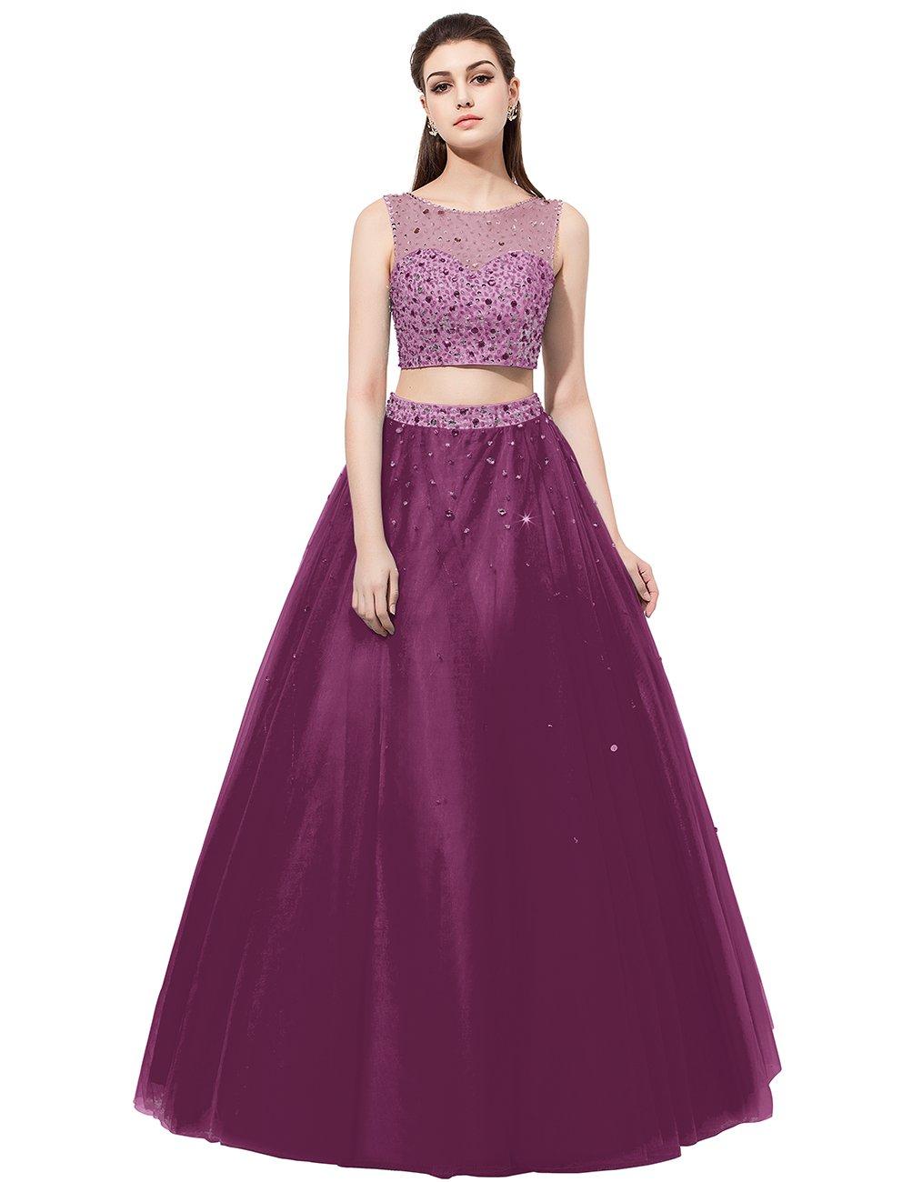 Dresstell 演奏会ドレス ステージドレス ビジュー付き ツーピースドレス 袖なし ビスチェタイプ 発表会ドレス カラーチュチュ 舞台ドレス B01MT5WQSX JP29W|葡萄色 葡萄色 JP29W