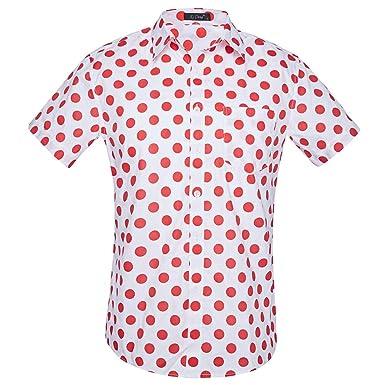 Camisa Manga Corta para Hombre de Hawaiian Beach Dots Camisa Clásica Imprimir Casual Ajuste Regular: Amazon.es: Ropa y accesorios