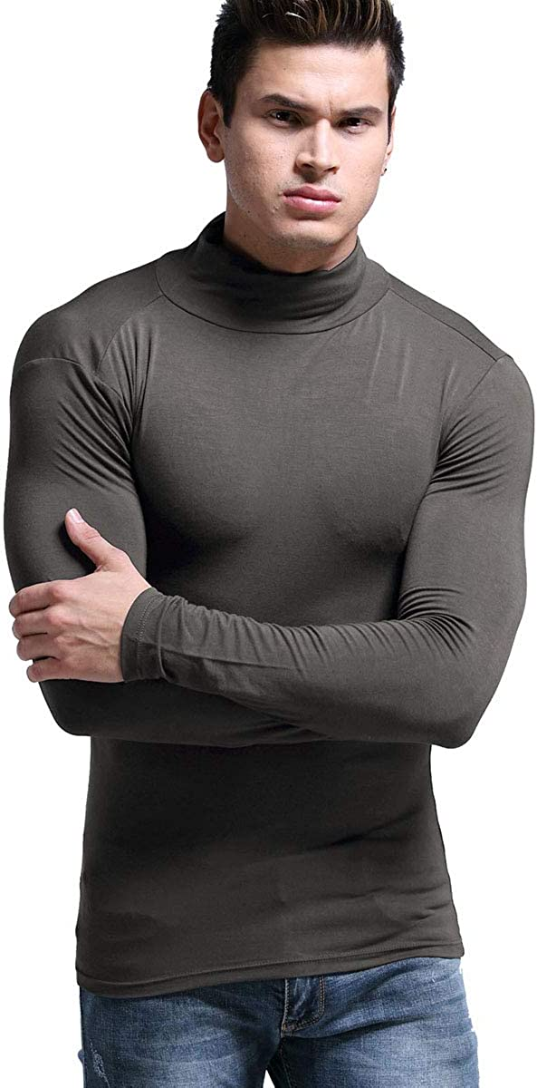 Ouruikia Mens Lightweight Thermal Shirts Modal Base Layer Turtleneck Long Sleeve Pullover Tops