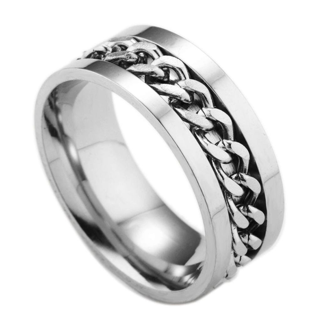 WensLTD Clearance! Men's Titanium Steel Chain Rotation Ring Cross Border Jewelry Ring (#7, Silver)
