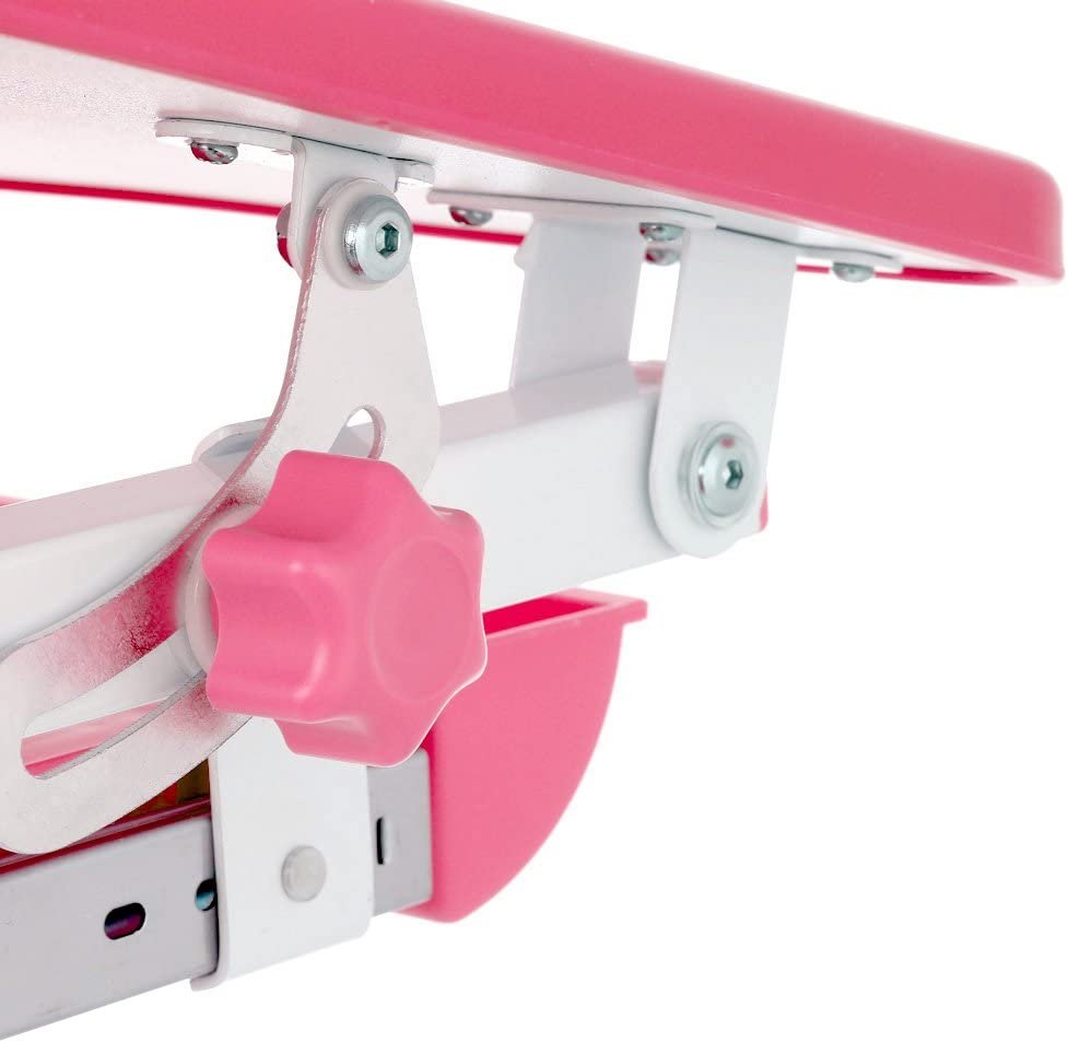 con porta rotolo di carta adatto per attivit/à artistiche scrivania inclinabile per bambini con sedia con tazza portamatite altezza regolabile Ikayaa