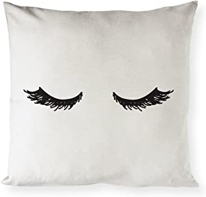 The Cotton & Canvas Co. Closed Eyelashes Home Decor Pillow Cover, Pillowcase, Cushion Cover and Decorative Throw Pillow Case (Natural Canvas Color, Not White)