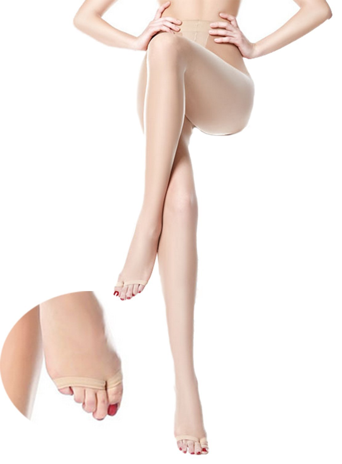 Freedi Womens Toeless Pantyhose Control Top Sheer Tights Ultra Thin Silk Stocking
