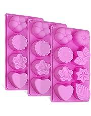 3 piezas de moldes de silicona con hojas florales, FineGood bizcocho de chocolate con 8