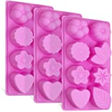 3 piezas de moldes de silicona con hojas florales, FineGood bizcocho de chocolate con 8 cavidades y pasta de chocolate…