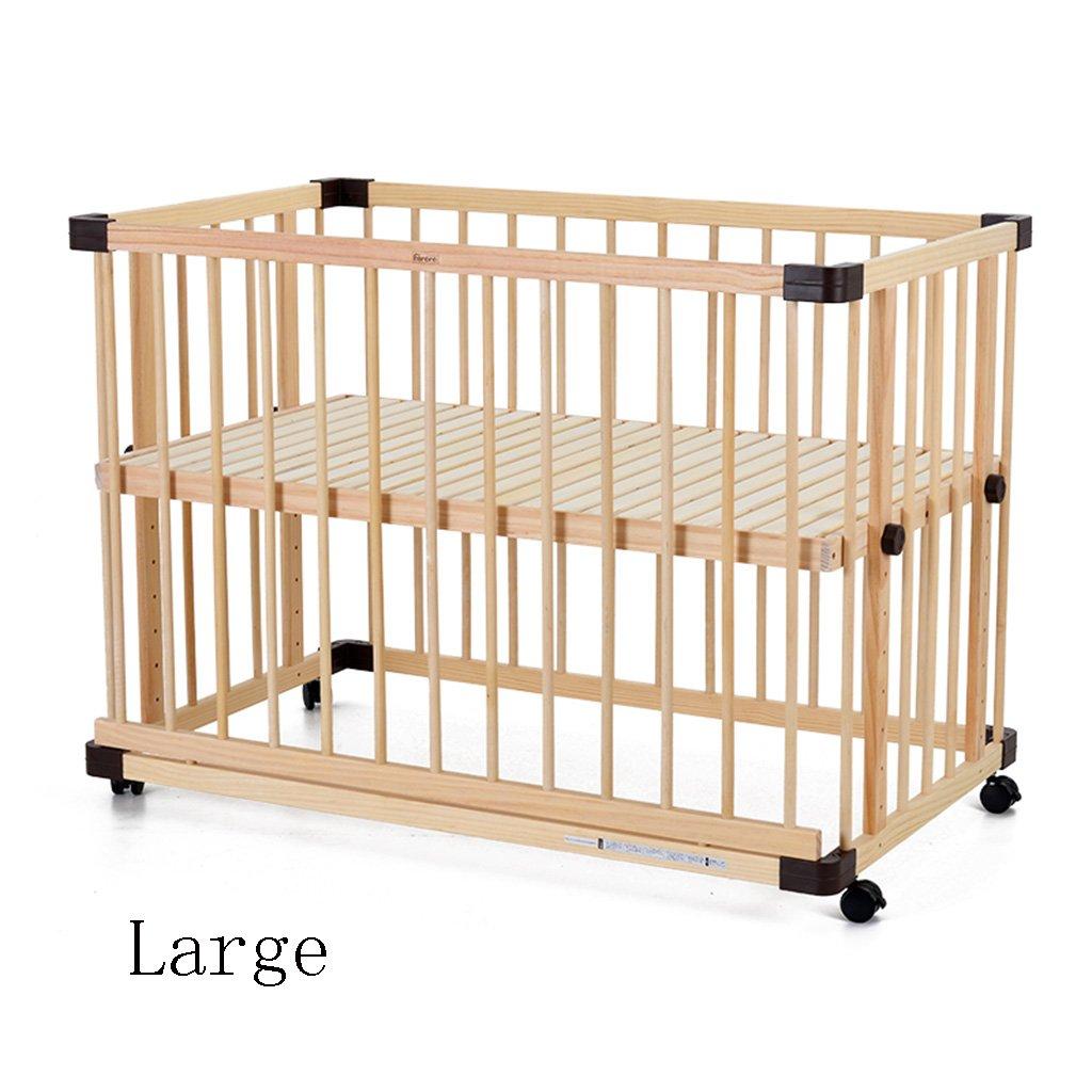 TYJ Kinderbetten Kinderbett Multifunktions Kinderbett Massivholz Umweltschutz Einfache Mode Geschmacklos Keine Farbe Sicherheit Baby Bett Mit Roller Wiege ( größe : L )