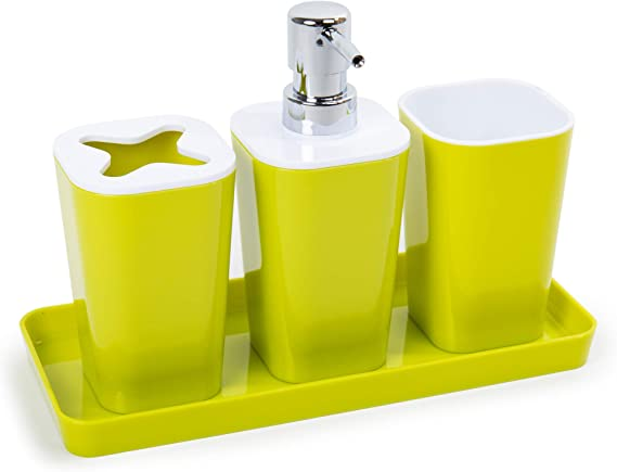 Lime Green CTG 4-Piece Bathroom Accessory Set 10 x 7 inches
