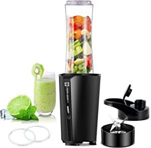 Bullet Blender, Smoothies Blender for Kitchen & Personal Single Serve Blender for Shake, Fruit Juice Mixer with 600ml Portable Travel Bottle, 300W… (Black)