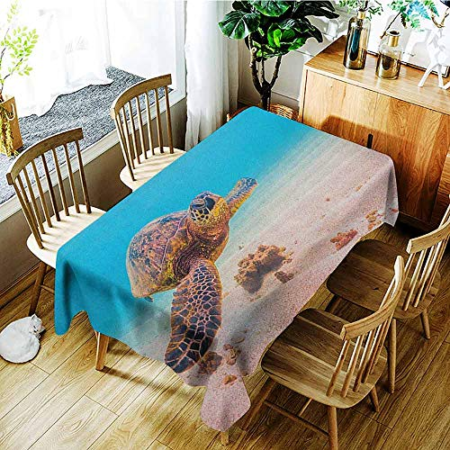 XXANS Waterproof Table Cover,Turtle,Hawaiian Green Sea Turtle Cruises in Warm Waters of The Pacific Ocean Photo,Table Cover for Kitchen Dinning Tabletop Decoratio,W54x90L Aqua Cinnamon Brown