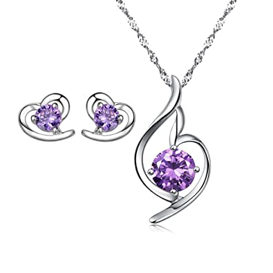 findout Rhodium Plated Amethyst Crystal Heart sterling Silver Necklace + earring set 4LQoL9V0S