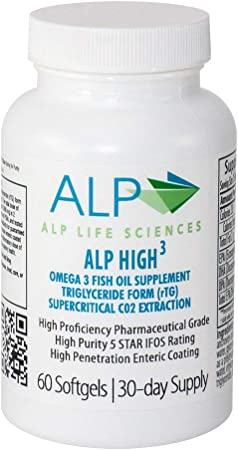 ALP High-3 Omega 3 Fish Oil Supplement - Double Enteric Coated High Penetration Fish Oil Soft-Gels - 1680 mg EPA/DHA/DPA, 60 Count