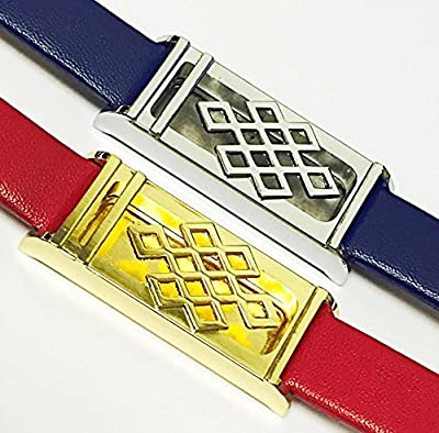 BSI SET 1 Blue Leather Bracelet With Unique Design Silver Metal Housing And 1 Red Leather Bracelet With Unique Design Gold Metal Housing For Fitbit Flex Smart Band