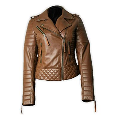3a982600030a Premium Handmade Genuine Lambskin Women's Leather Jacket for Bikers  Motorcycle Style Lightweight Brown