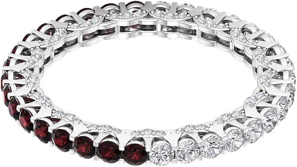 Anillo de novia de granate de 0,85 ct, certificado de 2 mm, anillo de piedras preciosas para mujer, anillo de eternidad de 0,88 quilates, 10K Oro