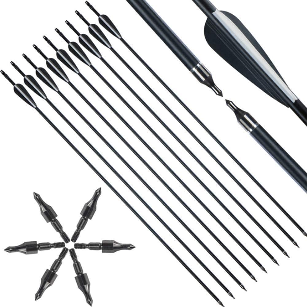 12 Piezas KPTKP Flecha de Fibra de Vidrio de Varilla de Corbata de 31 Pulgadas Flecha 100 Granos 8 mm Exquisito Arco recurvo de Caza para Objetivos de Caza y Practicar Tiro con Arco