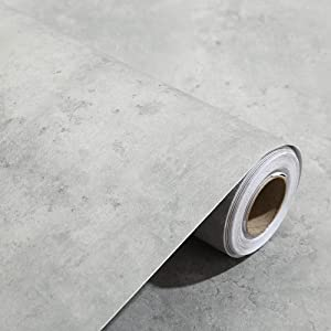 24x117 Inches 3D Textured Peel and Stick Concrete Wallpaper Grey Cement Contact Paper for Walls Kitchen Cabinets Countertop Bathroom Bedroom Furniture