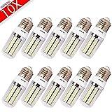 MUMENG 10 Packs E27 LED Corn Bulb Light 6500K Cool White 120 SMD 3014 110V E27 Base 8W 800LM Light Lamps for Office, Home, Meeting , Indoor Lighting