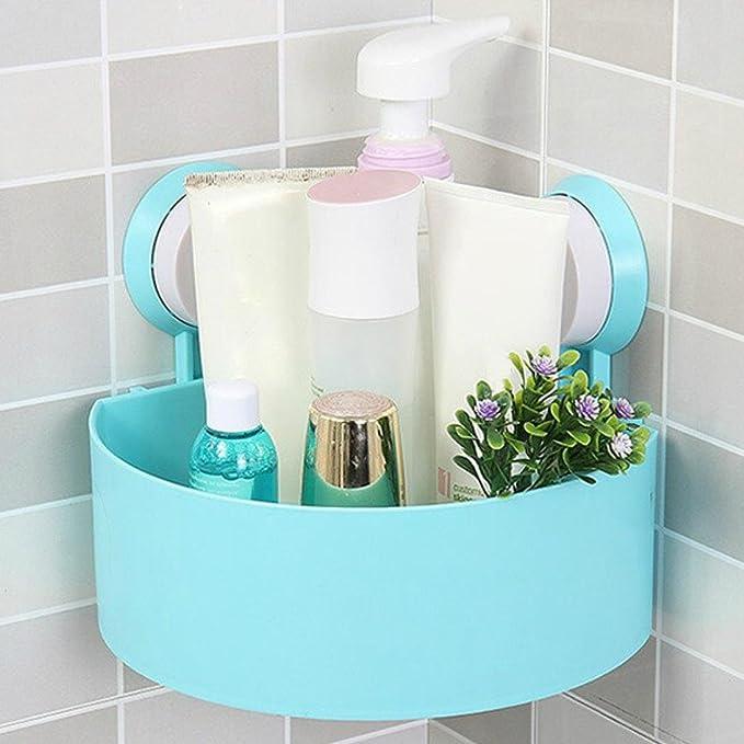 Estante del Almacenaje,Plástico succión taza baño cocina esquina  almacenamiento rack organizador ducha estante LMMVP (Azul 24a80d1995bd