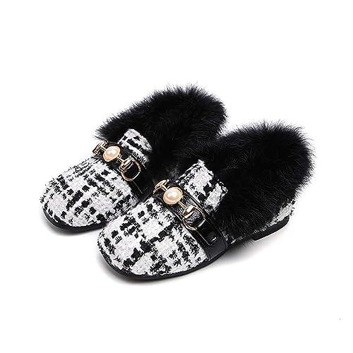 Invierno Otoño Cálido Terciopelo A Cuadros Compruebe Perla Bebé Niñas Mocasines Niños Antideslizante Moda Pisos: Amazon.es: Zapatos y complementos