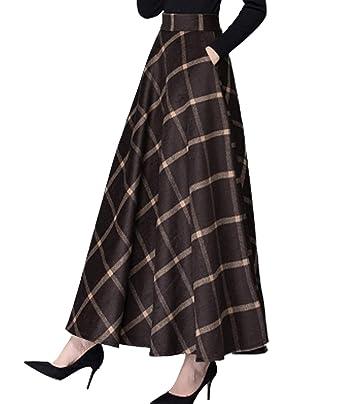 639b398e06 Femirah Women's Fall Winter Plaid Pleated Warm Thicken Woolen Long Skirt  (Waist: 60cm-