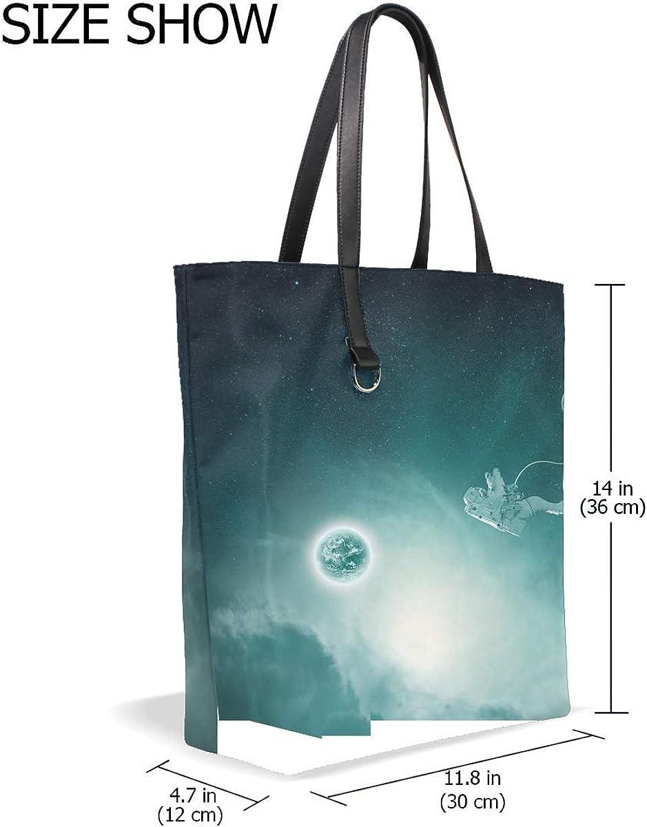 Astronaut Planet Gravitation Tote Bag Purse Handbag For Women Girls